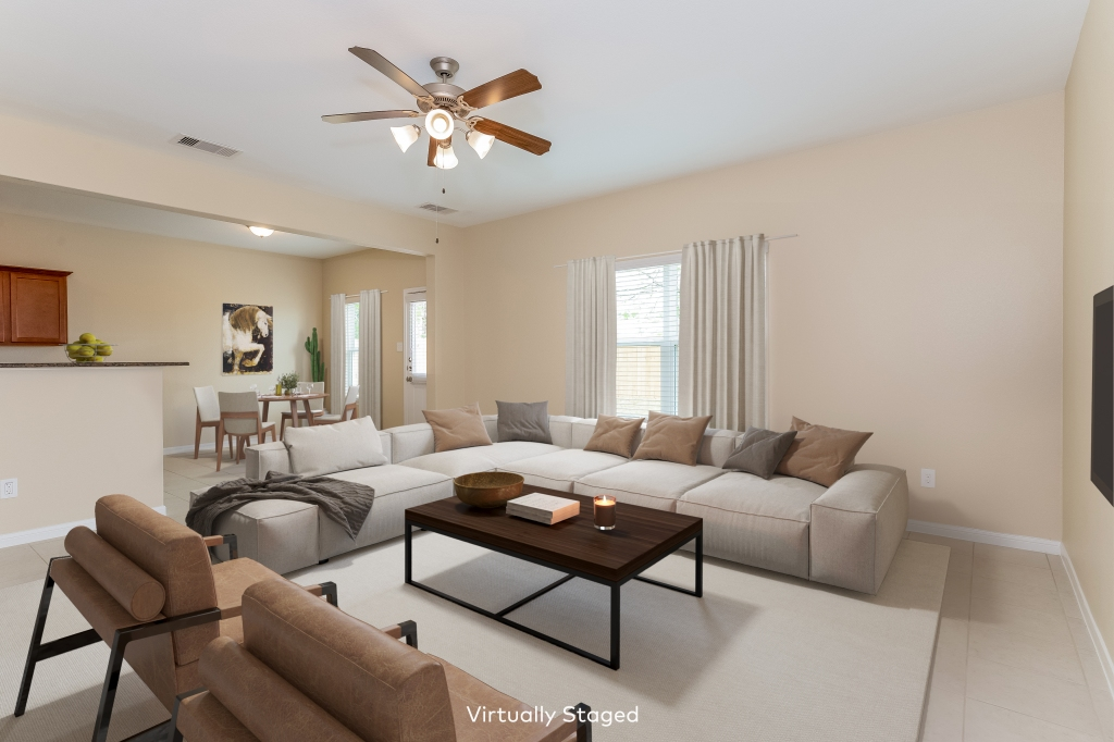 Virtual staging kitchen/living room